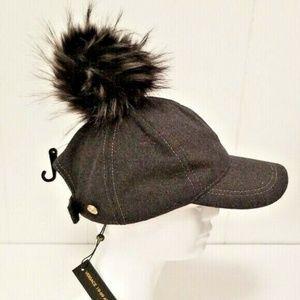 Versace 19.69 Fur Pom-Pom Grey Baseball Cap NWT
